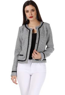 Casaqueto Sideral Tweed Preto E Branco