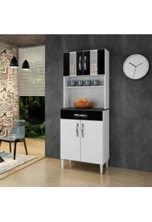 Armário De Cozinha 4 Portas 2 Com Vidro 1 Gaveta Milão Arte Móveis Branco/Preto
