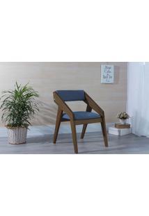 Poltrona Para Sala De Estar Azul Claro Quadratto - Verniz Capuccino \ Tec.930 - 55X49X78 Cm