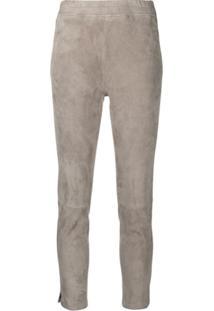 Incentive! Cashmere Calça Cropped De Couro - Cinza