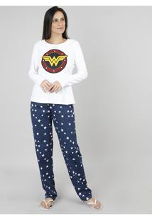 Pijama Feminino Mulher Maravilha Manga Longa Off White