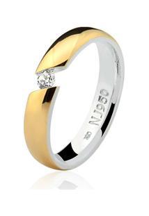 Aliança Mista Ouro 18K E Prata 925 Elegance Natalia Joias Alm-158 - Feminino-Ouro