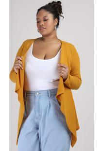 Capa Feminina Plus Size Canelada Assimétrica Mostarda
