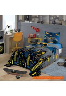 Jogo De Cama Infantil Com 3 Peças Batman Algodão Azul
