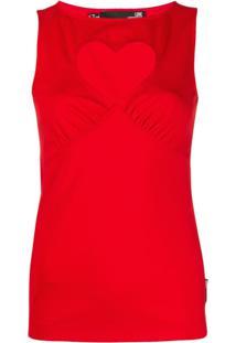 Love Moschino Blusa Com Recorte De Coração Vazado - Vermelho
