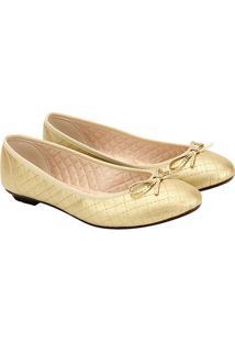 Sapatilha Moleca Matelasse Básico Lacinho - Feminino-Dourado
