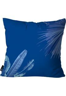 Capa Para Almofada Mdecore Folhas 45X45Cm Azul