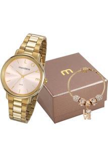 Kit De Relógio Analógico Mondaine Feminino + Pulseira - 53761Lpmkde1K1 Dourado