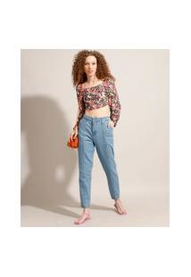 Calça Mom Jeans Com Recortes Cintura Super Alta Sawary Azul Claro