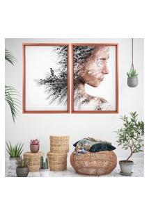 Quadro Love Decor Com Moldura Chanfrada Efeito Árvore Mulher Rose Metalizado - Grande