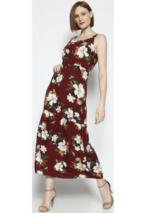 Vestido Floral Com Recorte - Bordã´ & Verde - Vip Resvip Reserva