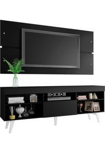 Rack Com Painel Para Tv Até 65 Polegadas Madesa Miami Com Pés - Preto/Branco Preto
