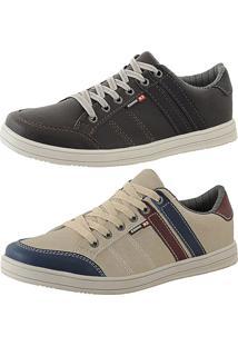 Kit Tênis Sapatenis Cr Shoes Leve E Baixo Lançamento Azul E Bege
