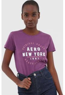 Camiseta Aeropostale Bordada Roxa