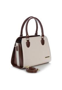 Bolsa Feminina Metalassê Bicolor Santorini Handbag Marrom/Creme