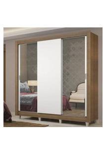 Guarda-Roupa Casal Madesa Lyon Plus 3 Portas De Correr Com Espelhos 4 Gavetas Com Pés Rustic