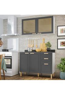 Cozinha Completa 3 Peã§As Americana Multimã³Veis 5924 Branco/Grafite - Branco/Incolor - Dafiti