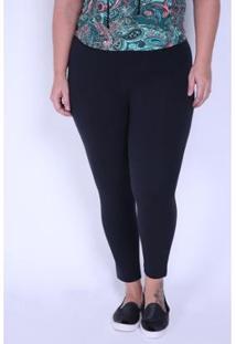 Calça Kauê Plus Size Legging Cotton Feminina - Feminino-Preto