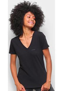 Blusa Calvin Klein Slim Logo Gola V Feminina - Feminino-Preto