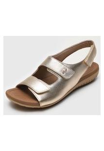 Sandália Usaflex Tiras Dourada