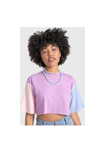 Camiseta Cropped Forever 21 Color Block Lilás/Rosa