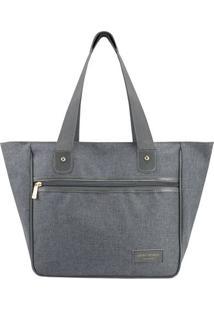 Bolsa Shopper Com Recortes- Cinza- 28,5X30X15Cm-Jacki Design