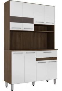 Cozinha Compacta 8 Portas 1 Gaveta 2020 Delmarco Móveis Castanho Argel/Branco
