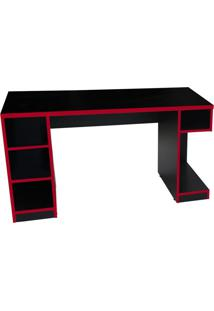 Mesa Para Computador Notebook Gamer Pro Preto/Vermelho - Fit Mobel