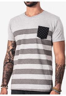 Camiseta Listrada Bolso Poá 101016