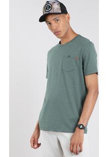 Camiseta Masculina Com Bolso Manga Curta Gola Careca Verde Militar