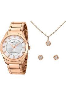 Kit Relógio Feminino Champion Analógico Passion - Ch24759E Com Acessórios - Feminino-Rose Gold