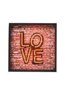 Quadro Decorativo Com Neon Love - Unissex