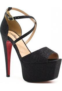 Sandália Zariff Shoes Meia Pata Brilho - Feminino-Preto