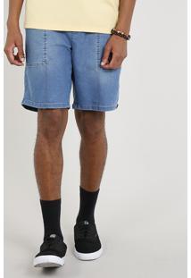 Bermuda Jeans Masculina Com Cordão Azul Escuro