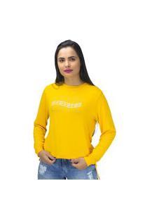Blusa Moletinho Ajuste Lateral Love Amarela Mosaico