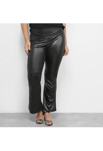 Calça Flare Blomma Plus Size Feminina - Feminino-Preto