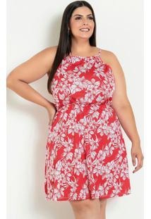 Vestido De Alças Plus Size Floral Vermelho