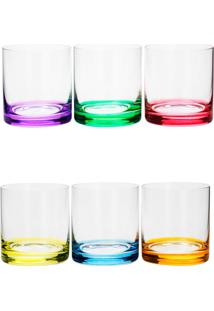 Conjunto Rojemac 6 Copos Baixos De Cristal Ecológico Set-Bar Favorit Colorido - Tricae