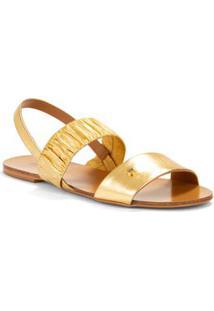 Sandalia Rasteira Com Elastico Dourado