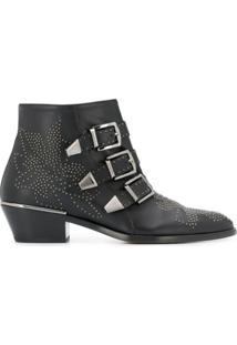 Chloé Ankle Boot Susanna Com Tachas - Preto