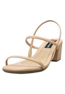 Sandália Salto Bloco Love Shoes Baixo Tiras Básicas Delicadas Nude