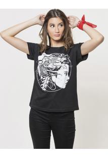 Camiseta Basica Joss Mulher Robo Preta - Kanui