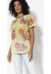 Camiseta Em Tela Floral - Amarela & Rosa - Sommersommer