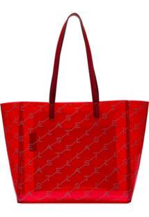 Stella Mccartney Bolsa Tote Transparente Com Logo E Aplicações - Vermelho