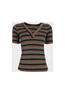 Blusa Feminina Listrada Colorida - Azul G