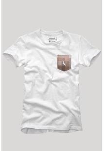 Camiseta Bolso Xadrez Quadrilha Reserva Masculina - Masculino-Branco