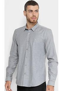 Camisa Manga Longa Calvin Klein Slim Piquet Masculina - Masculino-Cinza
