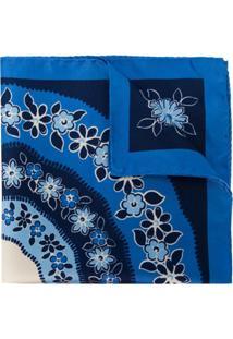 Kiton Lenço Com Estampa Floral - Azul