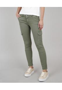 Calça De Sarja Feminina Skinny Cargo Verde Militar