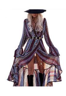 Vestido Longo Étnico Manga Longa